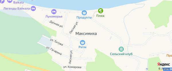 Таежная улица на карте села Максимихи Бурятии с номерами домов