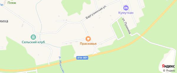 Школьная улица на карте села Максимихи Бурятии с номерами домов
