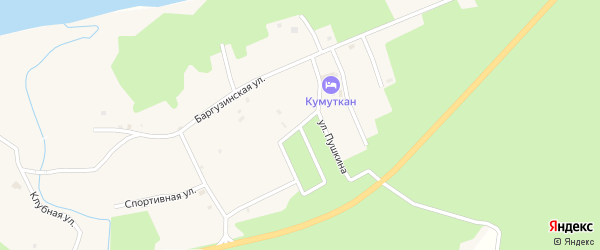 Зеленая улица на карте села Максимихи Бурятии с номерами домов