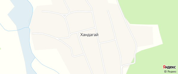 Улица Камчатка на карте поселка Хандагая Бурятии с номерами домов