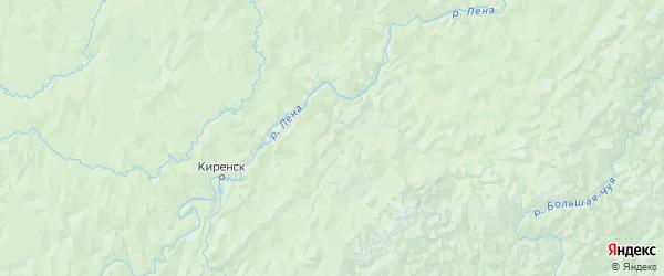 Карта Киренского района Иркутской области с городами и населенными пунктами