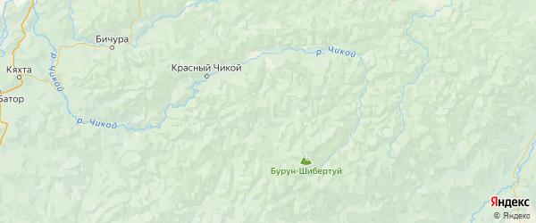 Карта Красночикойского района Забайкальского края с городами и населенными пунктами