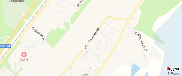 Улица Строителей на карте поселка Нижнеангарска с номерами домов