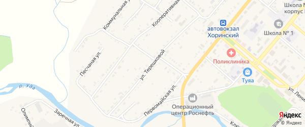 Улица Терешковой на карте села Хоринск с номерами домов