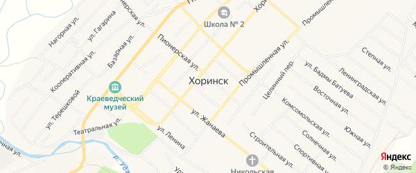 Карта села Хоринск в Бурятии с улицами и номерами домов