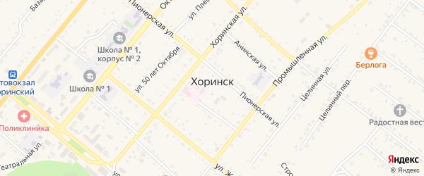 Таежная улица на карте села Хоринск с номерами домов