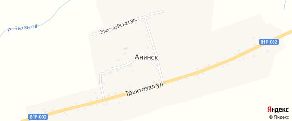 Трактовая улица на карте улуса Анинска Бурятии с номерами домов