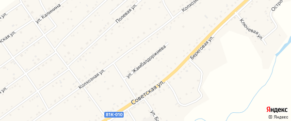 Улица Жамбалдоржиева на карте села Кижинги с номерами домов