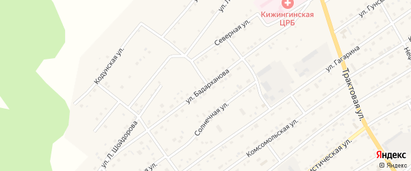 Улица Бадарханова на карте села Кижинги Бурятии с номерами домов