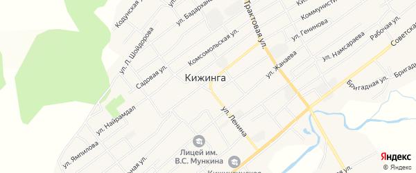 Карта села Кижинги в Бурятии с улицами и номерами домов