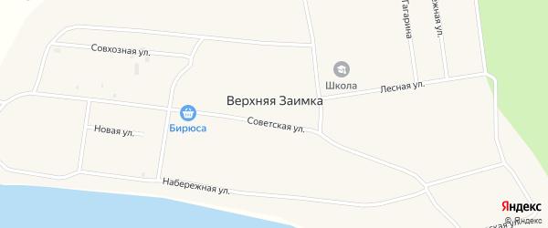 Совхозный переулок на карте села Верхней Заимки Бурятии с номерами домов