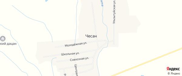 Карта улуса Чесан в Бурятии с улицами и номерами домов
