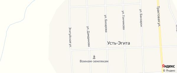 Улица Дамдинова на карте улуса Усть-Эгита с номерами домов