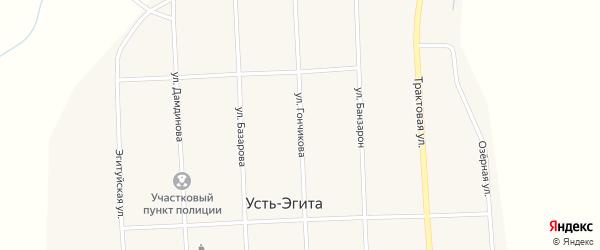 Улица Улица Гончикова на карте улуса Усть-Эгита с номерами домов