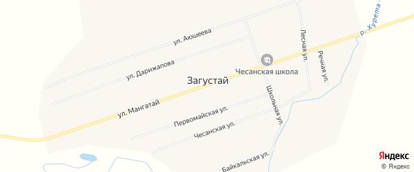 Карта улуса Загустай в Бурятии с улицами и номерами домов