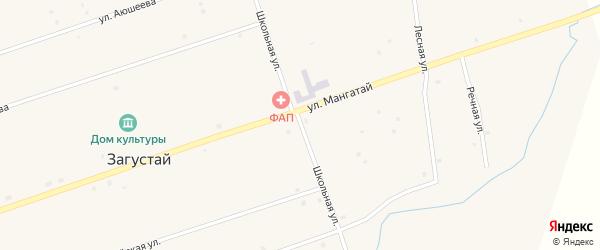 Школьная улица на карте улуса Загустай с номерами домов
