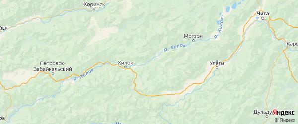 Карта Хилокского района Забайкальского края с городами и населенными пунктами