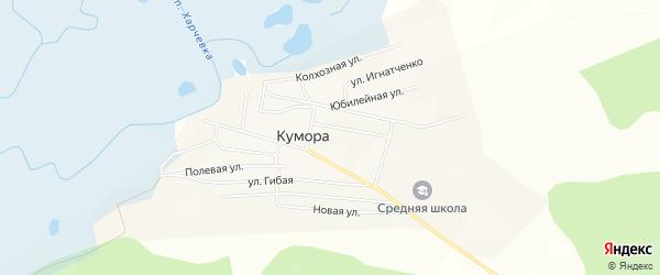 Карта поселка Куморы в Бурятии с улицами и номерами домов