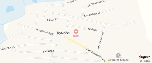Колхозная улица на карте поселка Куморы Бурятии с номерами домов