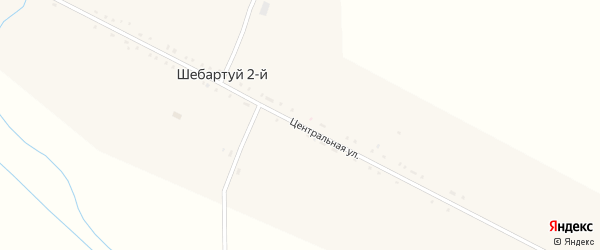 Центральная улица на карте села Шебартуя 2-й Забайкальского края с номерами домов
