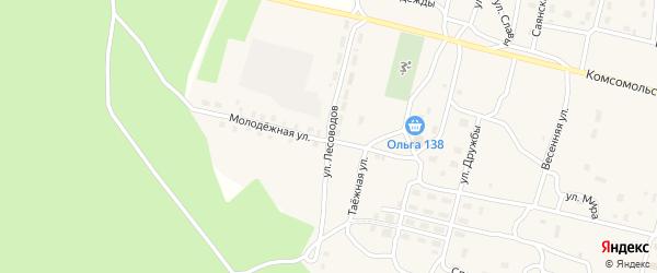 Улица Лесоводов на карте поселка Нового Уояна с номерами домов