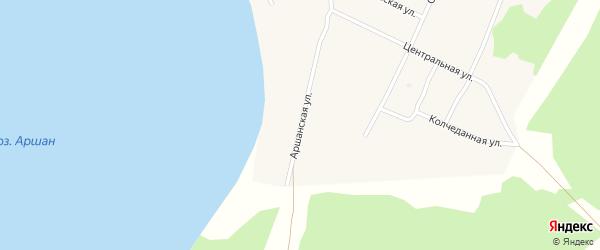 Аршанская улица на карте поселка Гунда с номерами домов