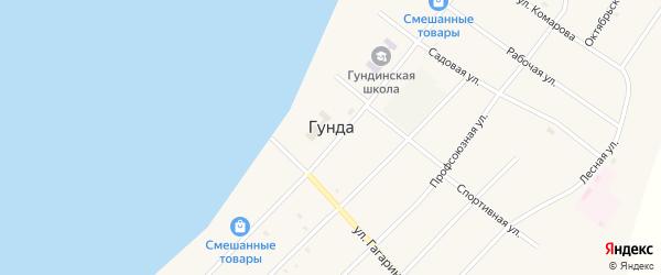 Озерный переулок на карте поселка Гунда с номерами домов