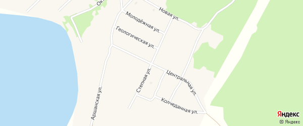 Степная улица на карте поселка Гунда с номерами домов