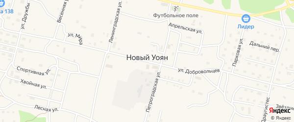 Снежная улица на карте поселка Нового Уояна с номерами домов
