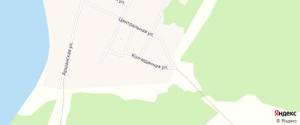 Колчеданная улица на карте поселка Гунда с номерами домов