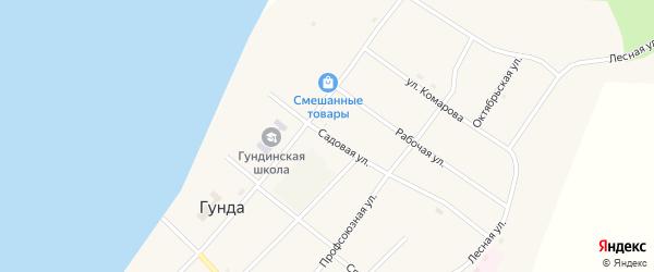 Садовая улица на карте поселка Гунда с номерами домов