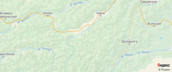 Карта Улётовский района Забайкальского края с городами и населенными пунктами