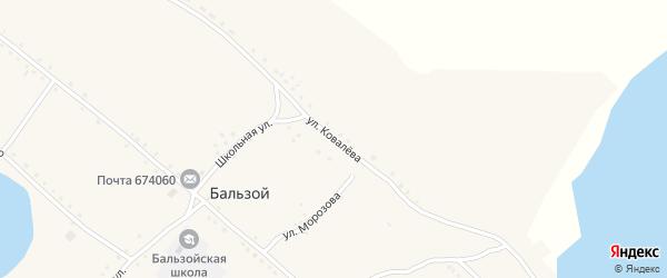 Улица Ковалёва на карте села Бальзоя Забайкальского края с номерами домов