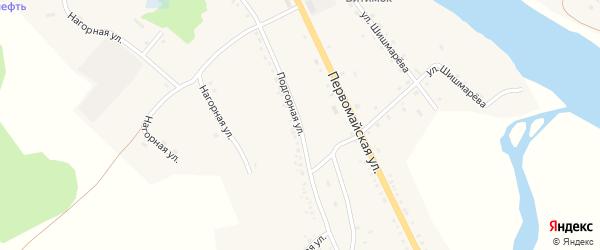 Подгорная улица на карте села Романовки Бурятии с номерами домов