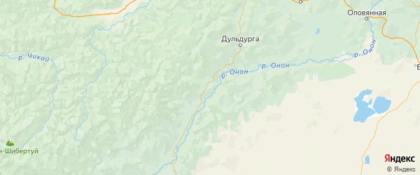 Карта Акшинского района Забайкальского края с городами и населенными пунктами