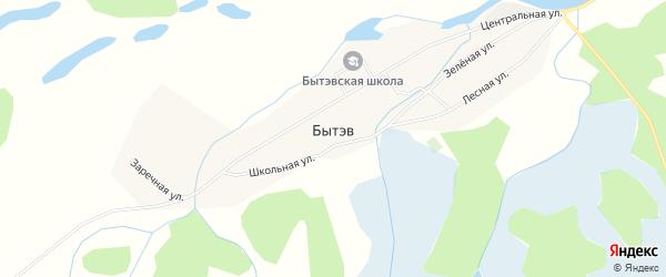Карта села Бытэв в Забайкальском крае с улицами и номерами домов