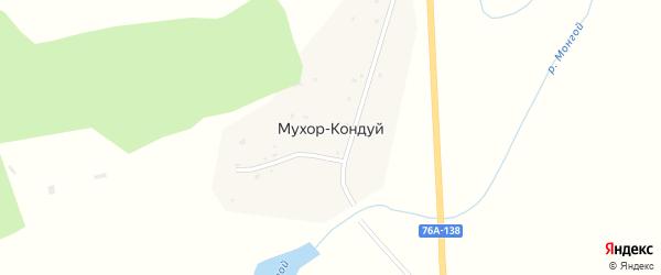 Центральная улица на карте села Мухора-Кондуя Забайкальского края с номерами домов