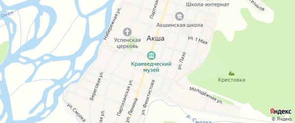 Карта села Акши в Забайкальском крае с улицами и номерами домов
