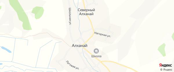 Карта села Северного Алханай в Забайкальском крае с улицами и номерами домов