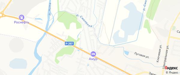 Территория ДНТ Монтажник на карте Читинского района Забайкальского края с номерами домов