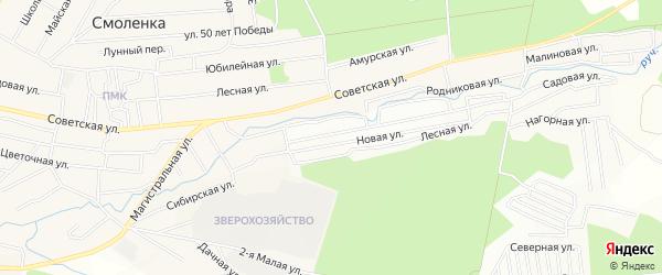 Территория ДНТ Охотник на карте Читинского района Забайкальского края с номерами домов