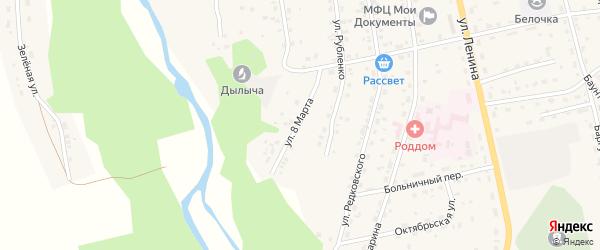 Улица 8 Марта на карте села Багдарина Бурятии с номерами домов
