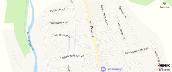 Улица Волгина на карте села Багдарина Бурятии с номерами домов