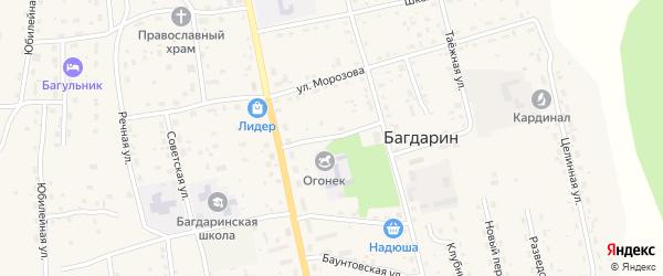 Парковый переулок на карте села Багдарина Бурятии с номерами домов