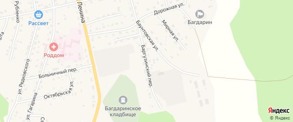 Баргузинский переулок на карте села Багдарина Бурятии с номерами домов