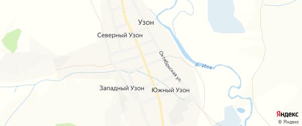 Карта села Узона в Забайкальском крае с улицами и номерами домов