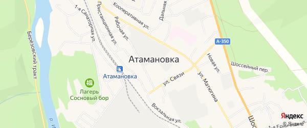 Стадионный ГСК на карте поселка Атамановки Забайкальского края с номерами домов