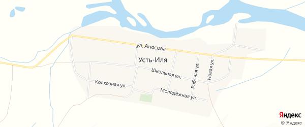 Карта села Усть-Иля в Забайкальском крае с улицами и номерами домов