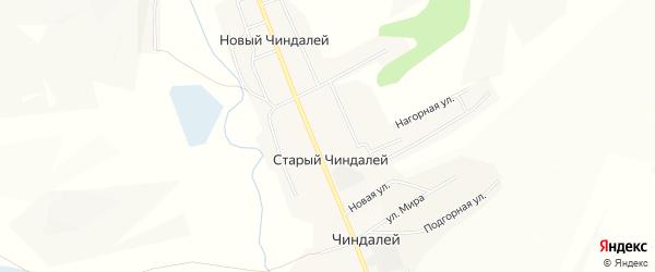 Карта села Нового Чиндалей в Забайкальском крае с улицами и номерами домов