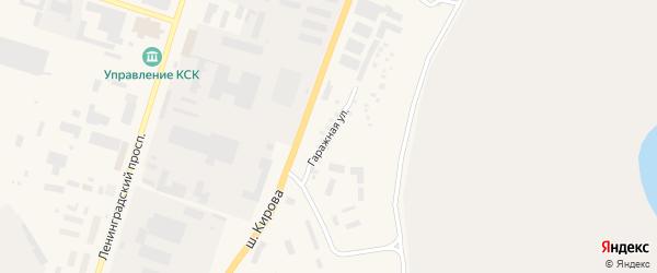 Гаражная улица на карте Мирного с номерами домов